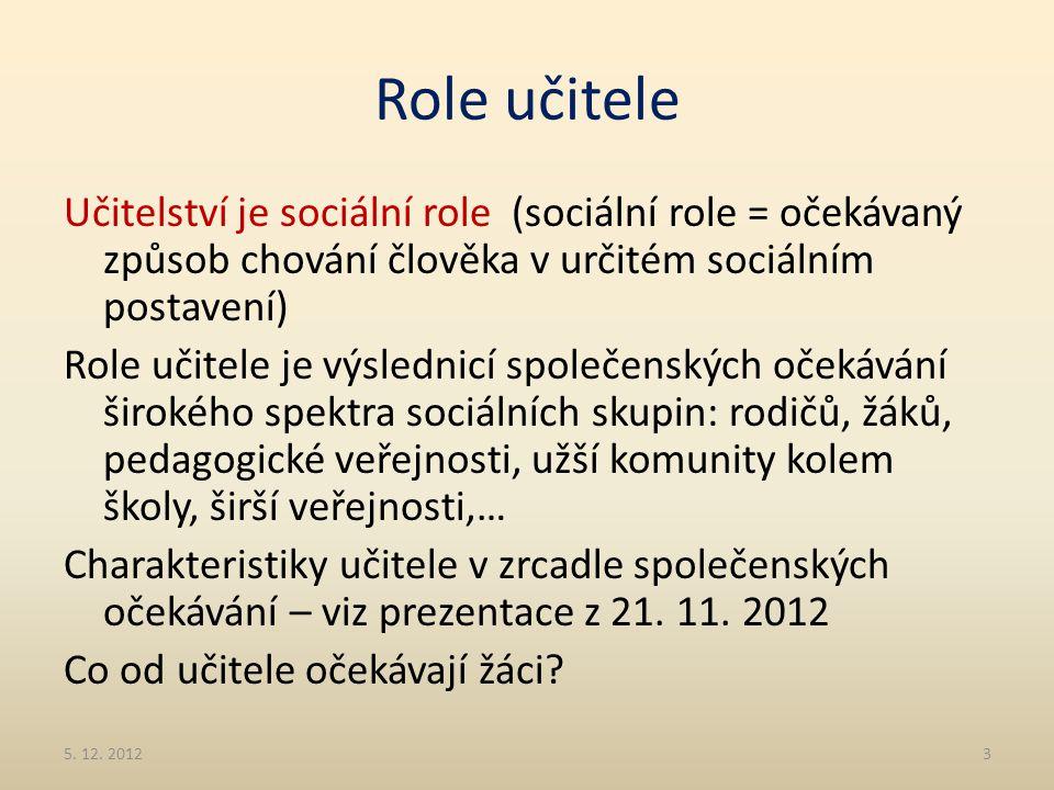 Role učitele Učitelství je sociální role (sociální role = očekávaný způsob chování člověka v určitém sociálním postavení) Role učitele je výslednicí s