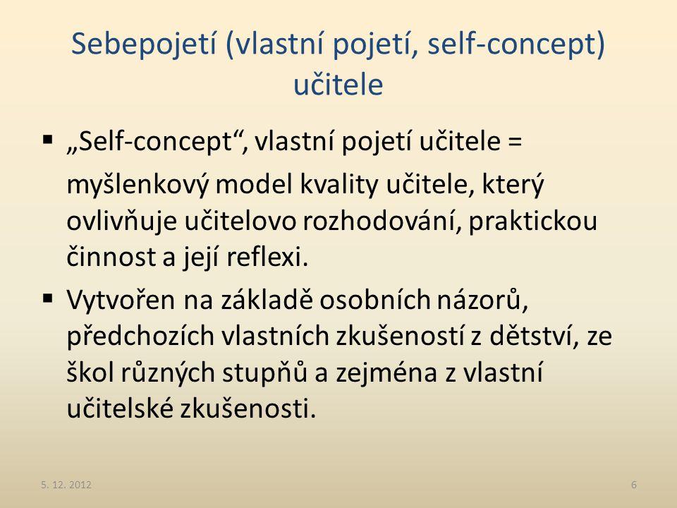 """Sebepojetí (vlastní pojetí, self-concept) učitele  """"Self-concept"""", vlastní pojetí učitele = myšlenkový model kvality učitele, který ovlivňuje učitelo"""