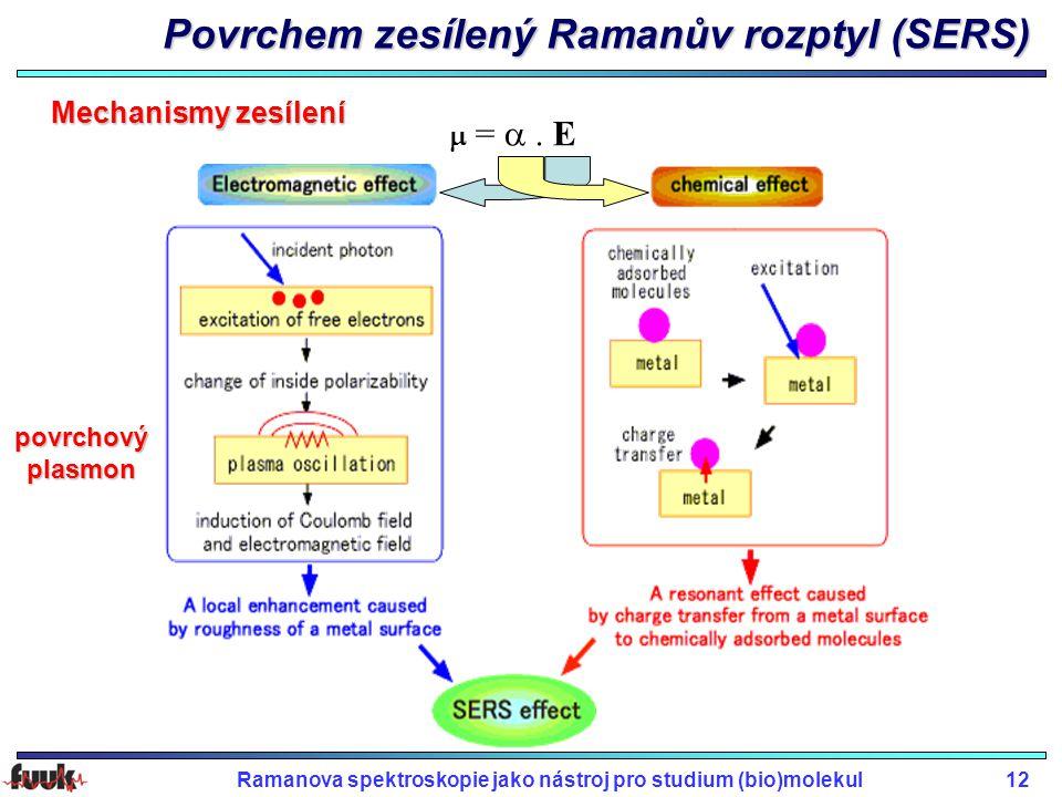 Ramanova spektroskopie jako nástroj pro studium (bio)molekul12 Povrchem zesílený Ramanův rozptyl (SERS) Mechanismy zesílení  = . E povrchový plasmo