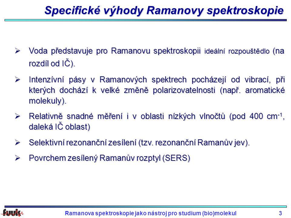 Ramanova spektroskopie jako nástroj pro studium (bio)molekul3 Specifické výhody Ramanovy spektroskopie  Voda představuje pro Ramanovu spektroskopii i