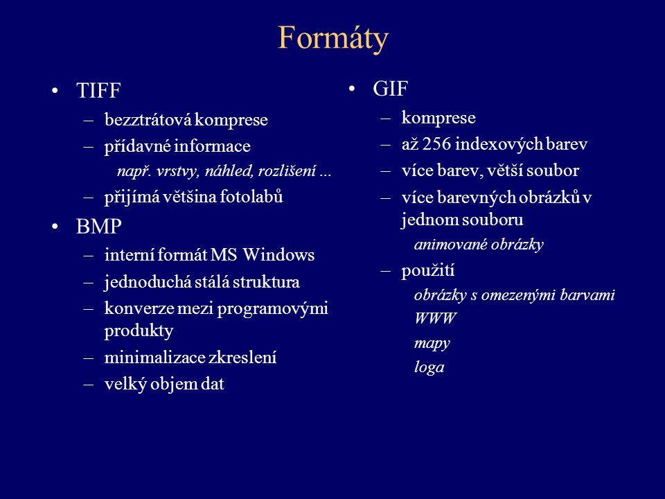 Formáty TIFF –bezztrátová komprese –přídavné informace např. vrstvy, náhled, rozlišení... –přijímá většina fotolabů BMP –interní formát MS Windows –je