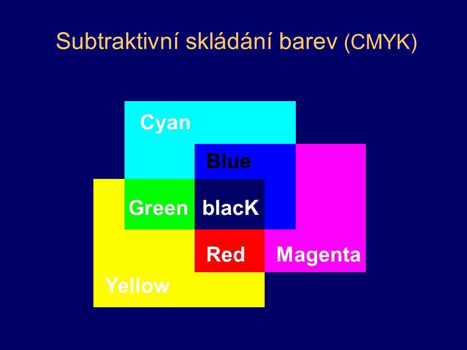 HSV model –barevný tón (H, hue) –sytost (S, saturation) –jasová hodnota (V, value) vhodné pro uživatele barevný tón –určuje převládající barvu –0° až 360° sytost –příměs jiných barev –0 (bílá) až 1 (spektrální barva) jas –množství bílého světla –rozsah 0 (černá) až 1