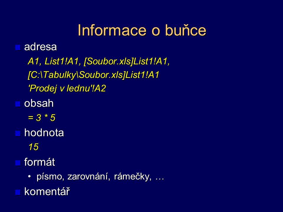 Informace o buňce adresa A1, List1!A1, [Soubor.xls]List1!A1, [C:\Tabulky\Soubor.xls]List1!A1 'Prodej v lednu'!A2 obsah = 3 * 5 hodnota15formát písmo,