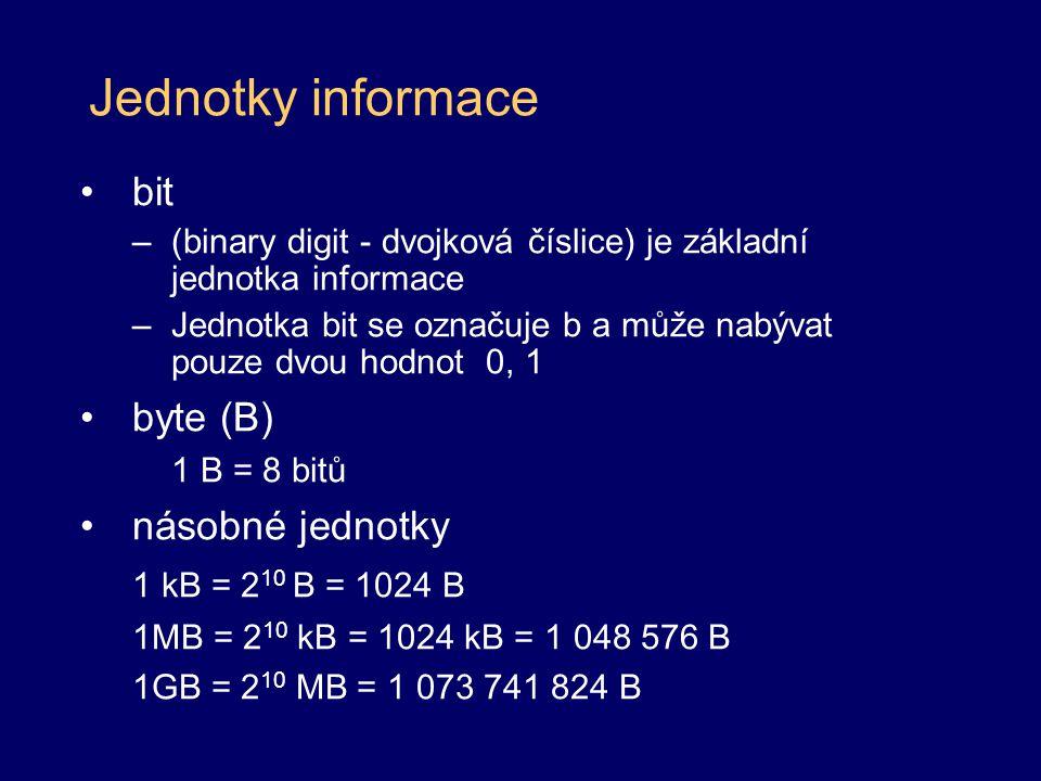 bit –(binary digit - dvojková číslice) je základní jednotka informace –Jednotka bit se označuje b a může nabývat pouze dvou hodnot 0, 1 byte (B) 1 B =
