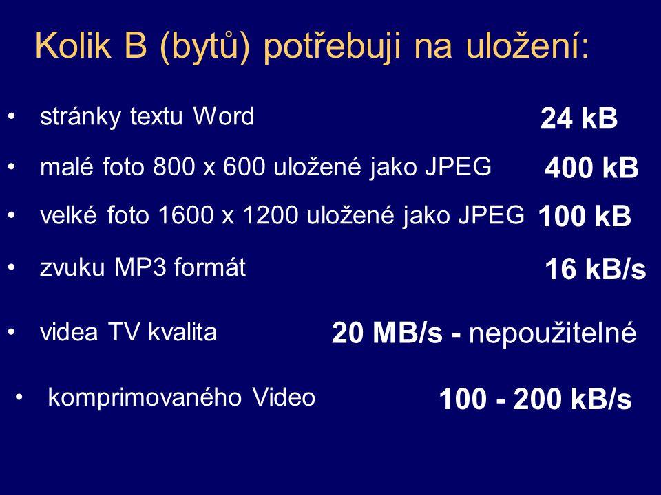 Kolik B (bytů) potřebuji na uložení: stránky textu Word 24 kB malé foto 800 x 600 uložené jako JPEG 100 kB velké foto 1600 x 1200 uložené jako JPEG 40