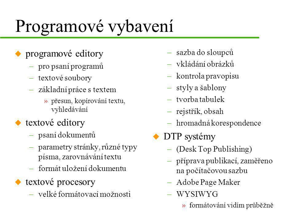 Programové vybavení u programové editory –pro psaní programů –textové soubory –základní práce s textem »přesun, kopírování textu, vyhledávání u textov