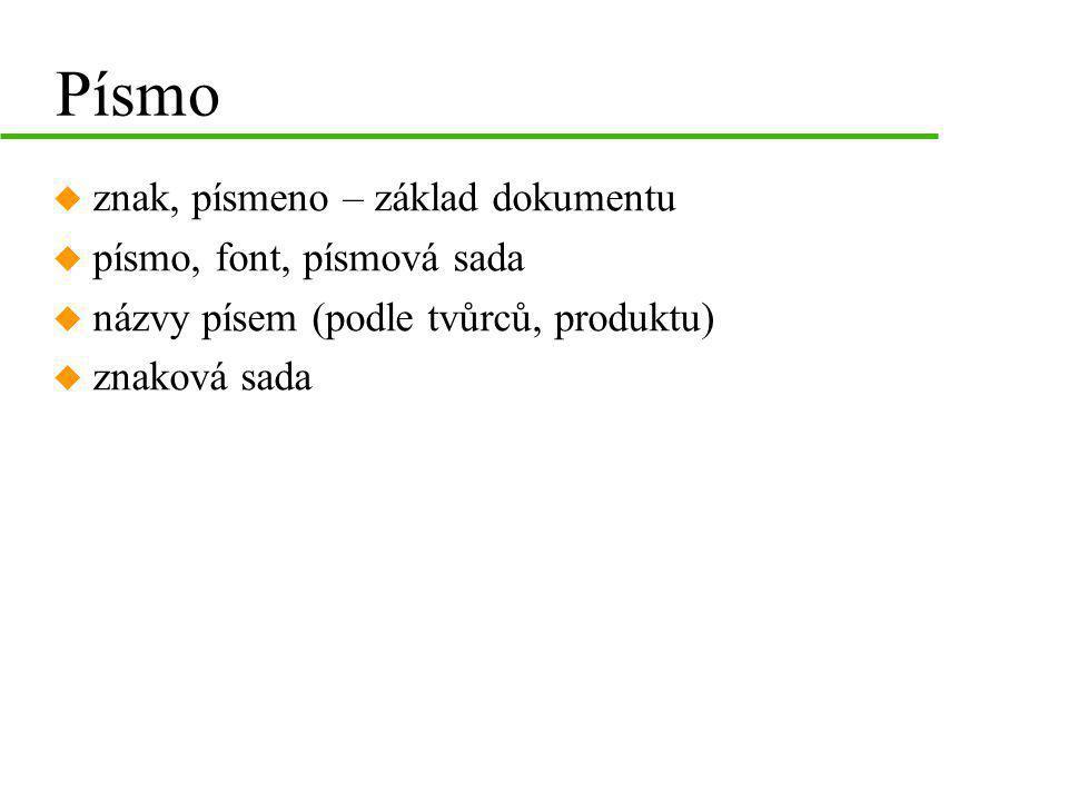 Písmo u znak, písmeno – základ dokumentu u písmo, font, písmová sada u názvy písem (podle tvůrců, produktu) u znaková sada