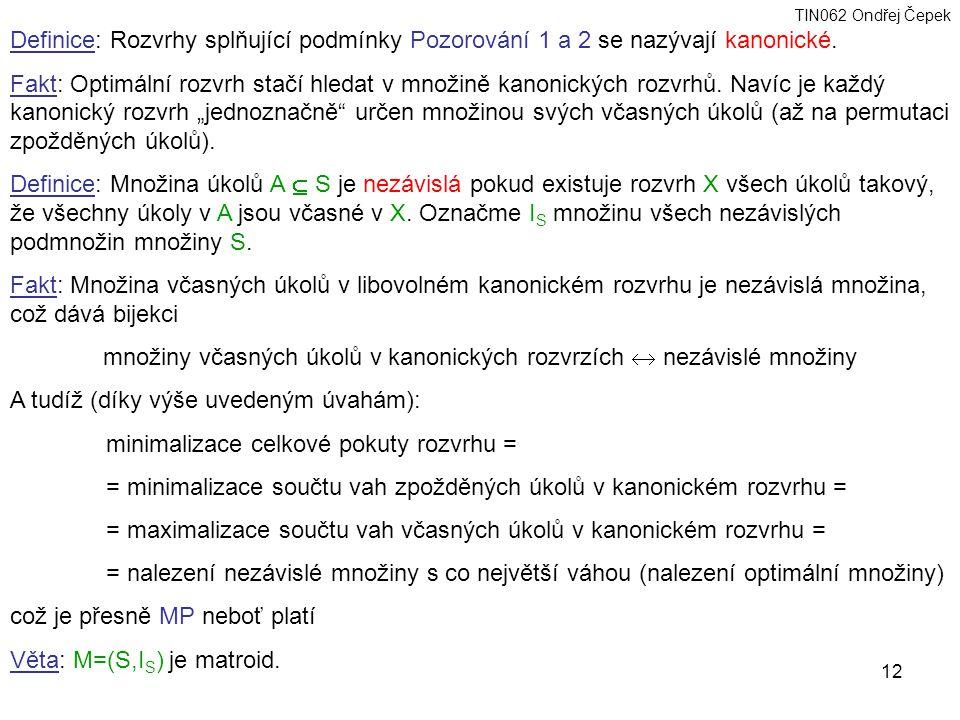 TIN062 Ondřej Čepek 12 Definice: Rozvrhy splňující podmínky Pozorování 1 a 2 se nazývají kanonické.
