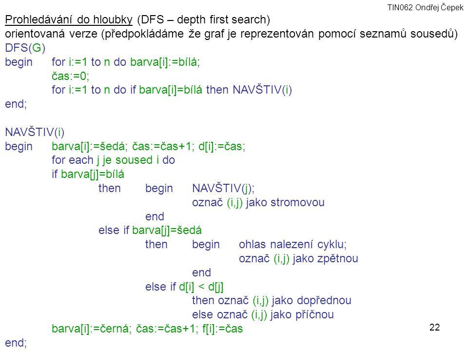 TIN062 Ondřej Čepek 22 Prohledávání do hloubky (DFS – depth first search) orientovaná verze (předpokládáme že graf je reprezentován pomocí seznamů sousedů) DFS(G) begin for i:=1 to n do barva[i]:=bílá; čas:=0; for i:=1 to n do if barva[i]=bílá then NAVŠTIV(i) end; NAVŠTIV(i) beginbarva[i]:=šedá; čas:=čas+1; d[i]:=čas; for each j je soused i do if barva[j]=bílá then beginNAVŠTIV(j); označ (i,j) jako stromovou end else if barva[j]=šedá then begin ohlas nalezení cyklu; označ (i,j) jako zpětnou end else if d[i] < d[j] then označ (i,j) jako dopřednou else označ (i,j) jako příčnou barva[i]:=černá; čas:=čas+1; f[i]:=čas end;