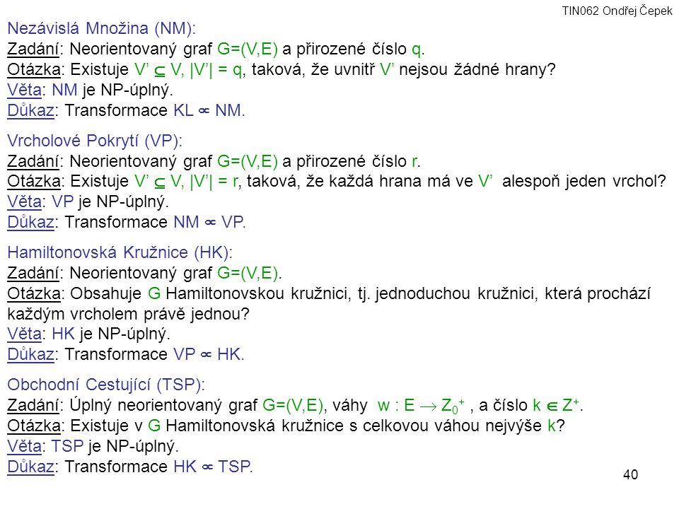 TIN062 Ondřej Čepek 40 Nezávislá Množina (NM): Zadání: Neorientovaný graf G=(V,E) a přirozené číslo q.