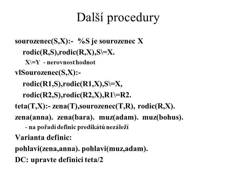 Další procedury sourozenec(S,X):- %S je sourozenec X rodic(R,S),rodic(R,X),S\=X. X\=Y - nerovnost hodnot vlSourozenec(S,X):- rodic(R1,S),rodic(R1,X),S