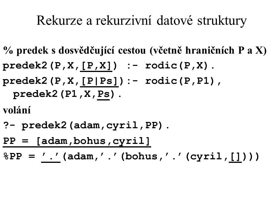 Rekurze a rekurzivní datové struktury % predek s dosvědčující cestou (včetně hraničních P a X) predek2(P,X,[P,X]) :- rodic(P,X). predek2(P,X,[P|Ps]):-