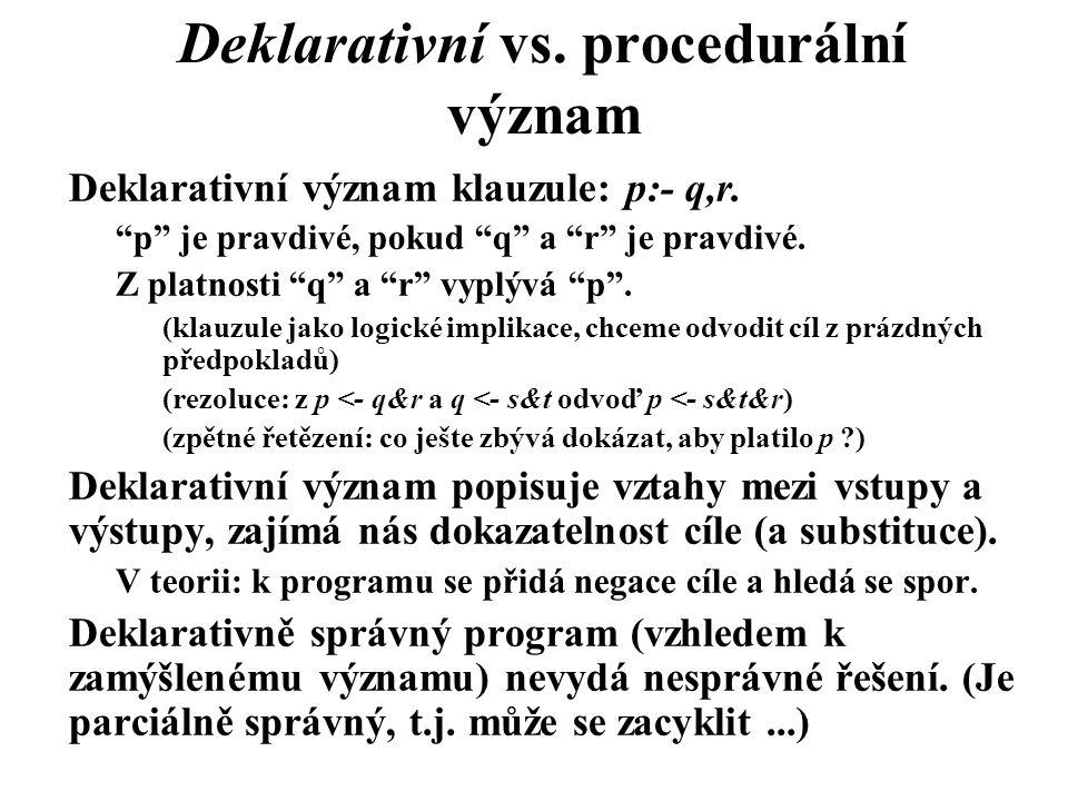 """Deklarativní vs. procedurální význam Deklarativní význam klauzule: p:- q,r. """"p"""" je pravdivé, pokud """"q"""" a """"r"""" je pravdivé. Z platnosti """"q"""" a """"r"""" vyplýv"""