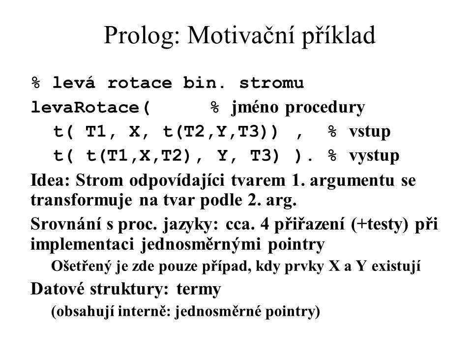 Prolog: Motivační příklad % levá rotace bin. stromu levaRotace( % jméno procedury t( T1, X, t(T2,Y,T3)), % vstup t( t(T1,X,T2), Y, T3) ). % vystup Ide