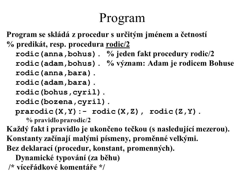 Program Program se skládá z procedur s určitým jménem a četností % predikát, resp. procedura rodic/2 rodic(anna,bohus). % jeden fakt procedury rodic/2