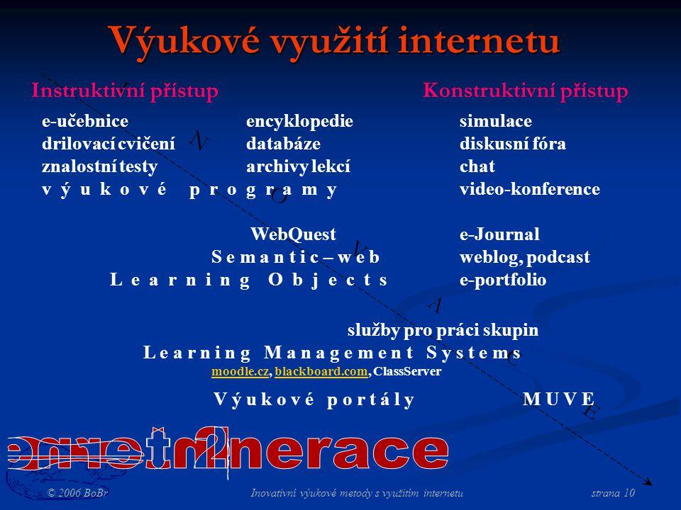 © 2006 BoBr Inovativní výukové metody s využitím internetustrana 10 I N O V A C E Výukové využití internetu Konstruktivní přístupInstruktivní přístup e-učebniceencyklopedie drilovací cvičenídatabáze znalostní testyarchivy lekcí v ý u k o v é p r o g r a m y WebQuest S e m a n t i c – w e b L e a r n i n g O b j e c t s simulace diskusní fóra chat video-konference e-Journal weblog, podcast e-portfolio služby pro práci skupin L e a r n i n g M a n a g e m e n t S y s t e m s moodle.czmoodle.cz, blackboard.com, ClassServerblackboard.com V ý u k o v é p o r t á l y M U V E