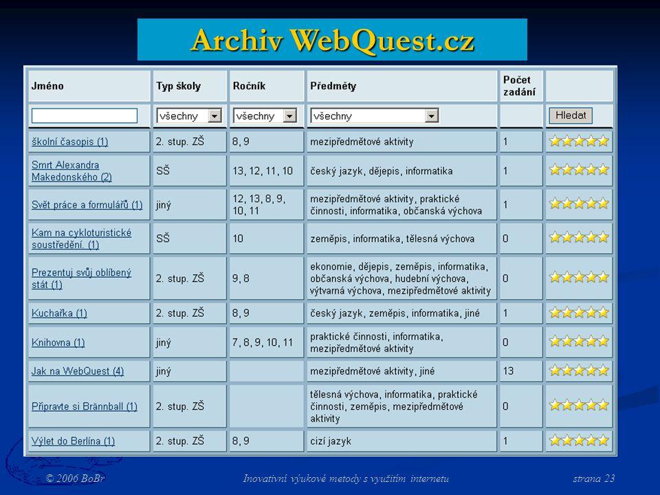© 2006 BoBr Inovativní výukové metody s využitím internetustrana 23 Archiv WebQuest.cz