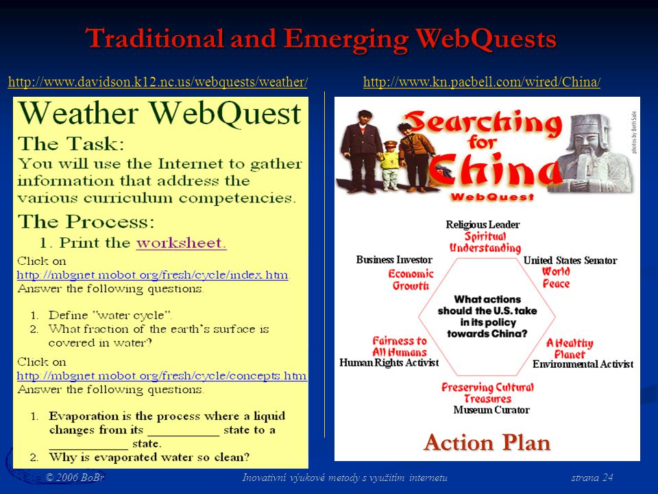 © 2006 BoBr Inovativní výukové metody s využitím internetustrana 24 Traditional and Emerging WebQuests http://www.kn.pacbell.com/wired/China / Action Plan http://www.davidson.k12.nc.us/webquests/weather /