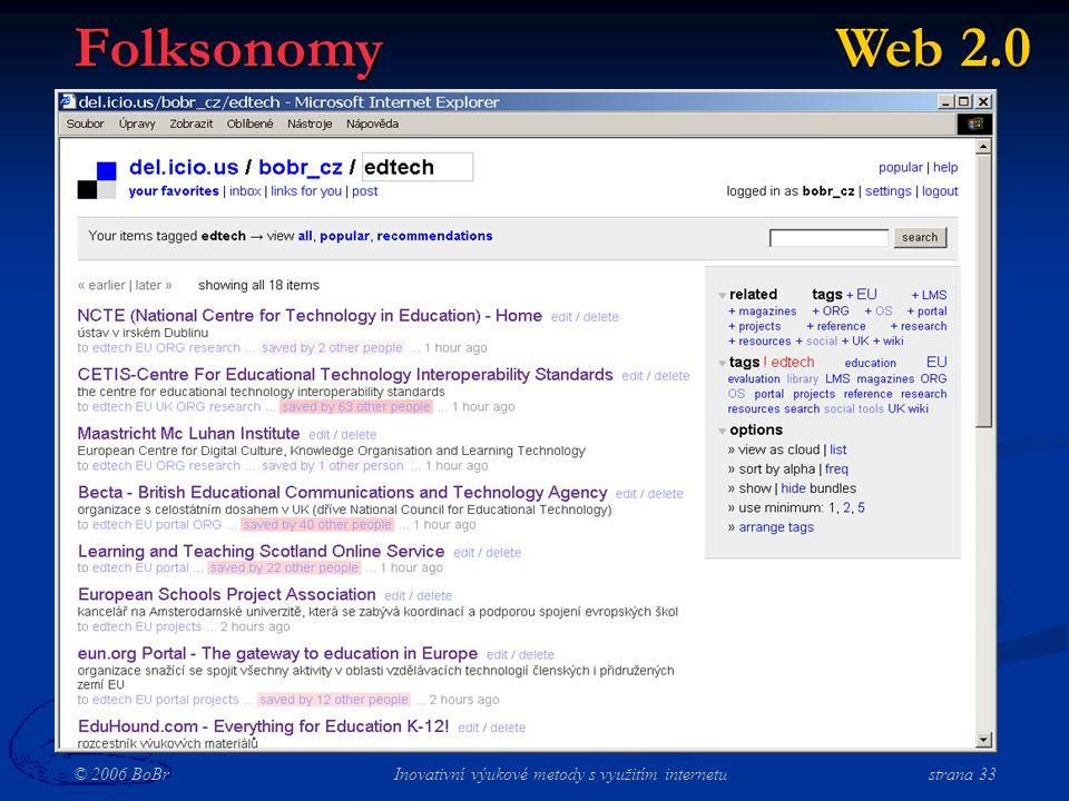 © 2006 BoBr Inovativní výukové metody s využitím internetustrana 33 Folksonomy Web 2.0