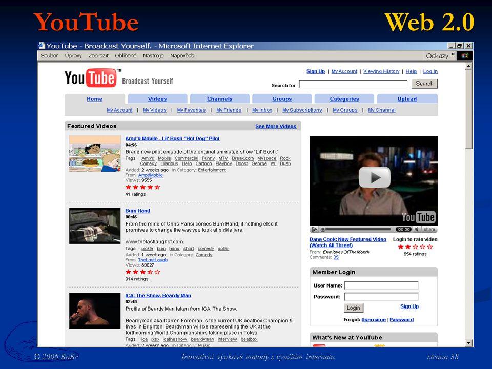 © 2006 BoBr Inovativní výukové metody s využitím internetustrana 38 YouTube Web 2.0