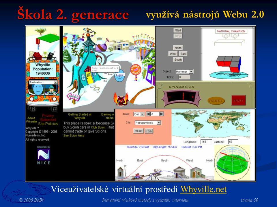 © 2006 BoBr Inovativní výukové metody s využitím internetustrana 50 využívá nástrojů Webu 2.0 Škola 2.