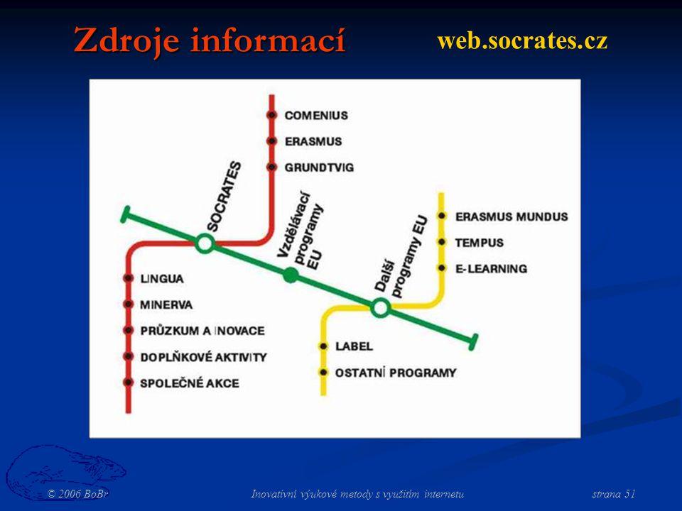 © 2006 BoBr Inovativní výukové metody s využitím internetustrana 51 Zdroje informací web.socrates.cz