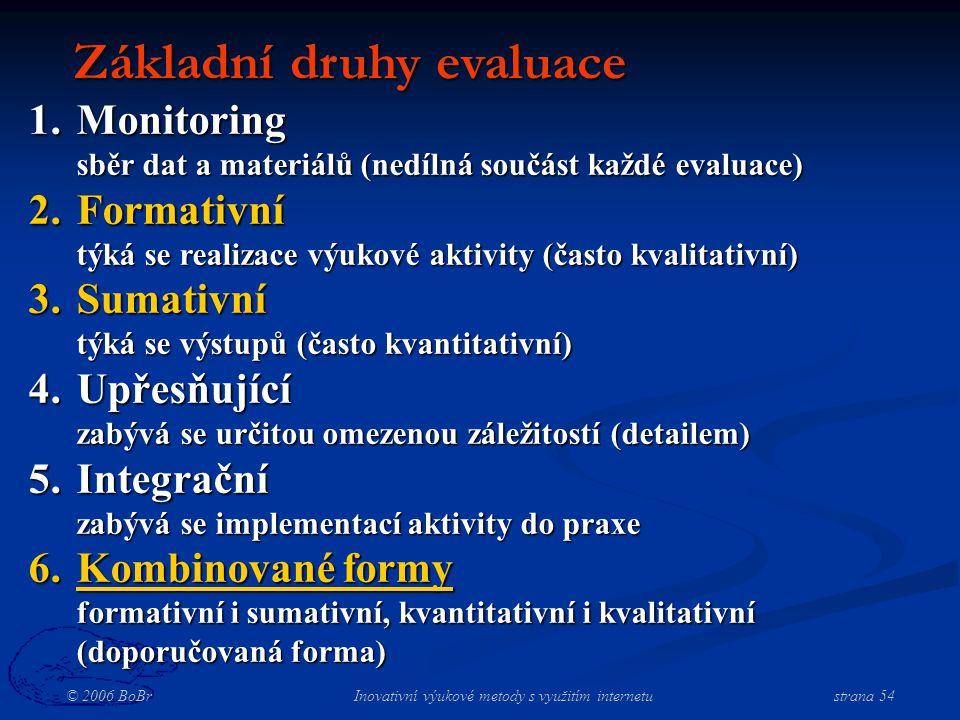 © 2006 BoBr Inovativní výukové metody s využitím internetustrana 54 Základní druhy evaluace 1.Monitoring sběr dat a materiálů (nedílná součást každé evaluace) 2.Formativní týká se realizace výukové aktivity (často kvalitativní) 3.Sumativní týká se výstupů (často kvantitativní) 4.Upřesňující zabývá se určitou omezenou záležitostí (detailem) 5.Integrační zabývá se implementací aktivity do praxe 6.Kombinované formy formativní i sumativní, kvantitativní i kvalitativní (doporučovaná forma)