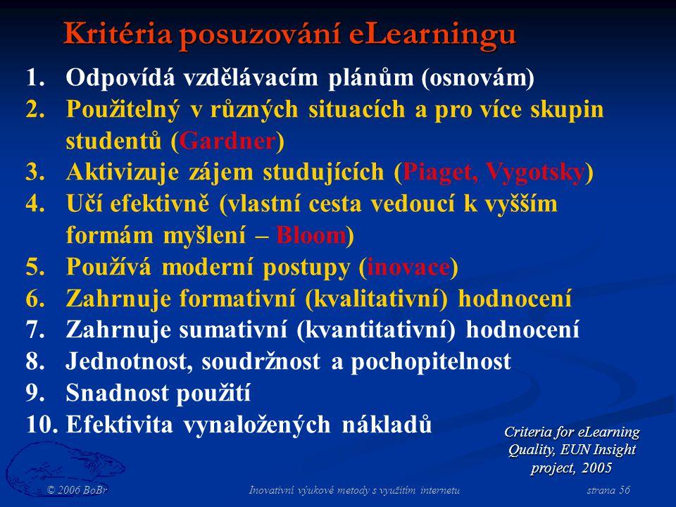 © 2006 BoBr Inovativní výukové metody s využitím internetustrana 56 Kritéria posuzování eLearningu 1.