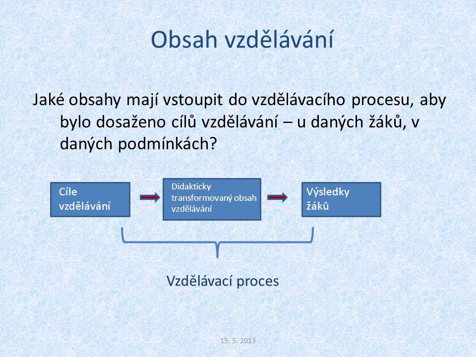 Společenské funkce a cíle vzdělávání 1.krok: Výběr obsahů vzdělávání 15.