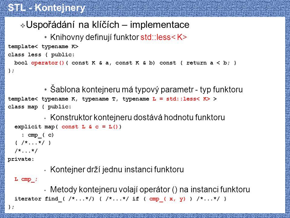 STL - Kontejnery  Uspořádání na klíčích – implementace Knihovny definují funktor std::less template class less { public: bool operator()( const K & a