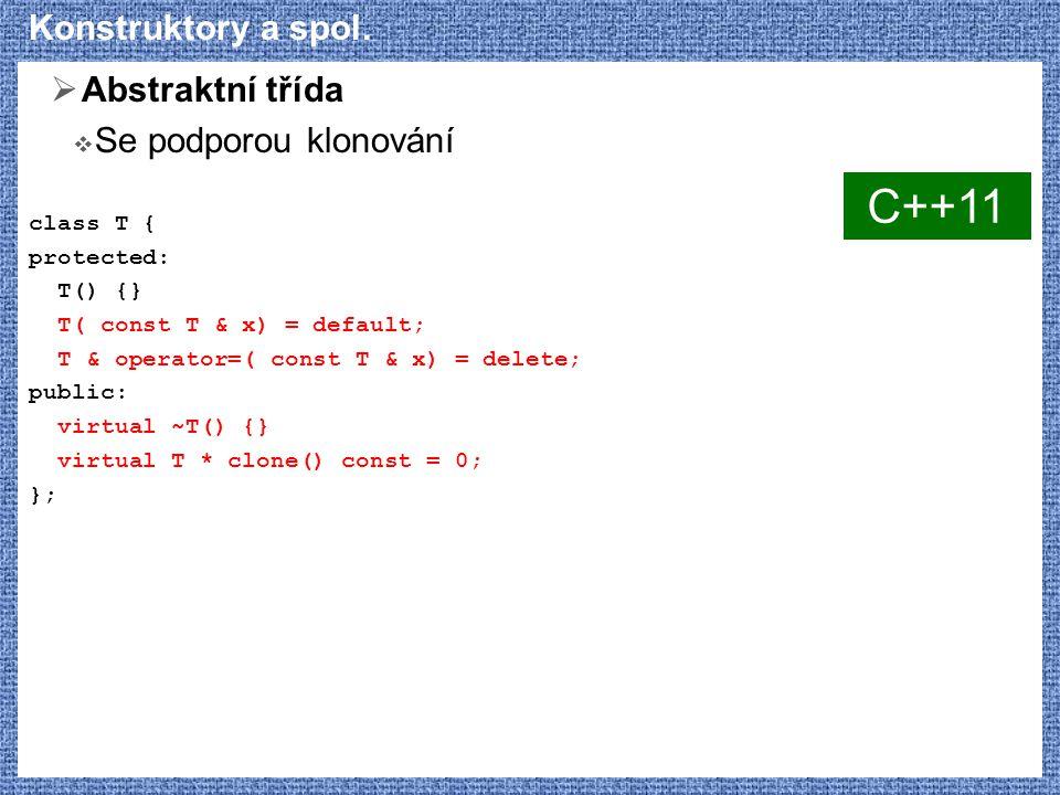 Konstruktory a spol.  Abstraktní třída  Se podporou klonování class T { protected: T() {} T( const T & x) = default; T & operator=( const T & x) = d