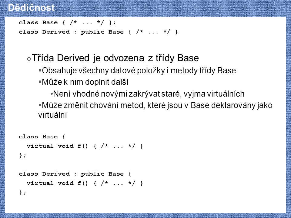 Dědičnost class Base { /*... */ }; class Derived : public Base { /*... */ }  Třída Derived je odvozena z třídy Base  Obsahuje všechny datové položky