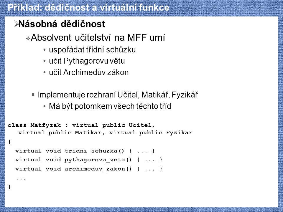 Příklad: dědičnost a virtuální funkce  Násobná dědičnost  Absolvent učitelství na MFF umí uspořádat třídní schůzku učit Pythagorovu větu učit Archim