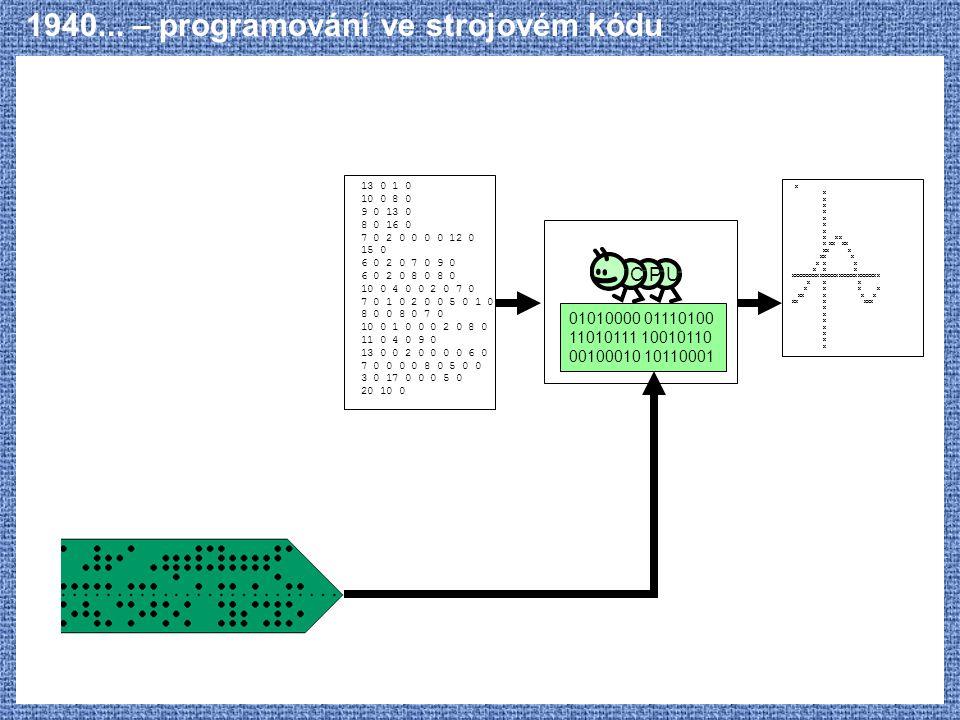 1940... – programování ve strojovém kódu C P U 01010000 01110100 11010111 10010110 00100010 10110001 X X XX X XX XX XX X XXXXXXXXXXXXXXXXXXXXXXXXXXXX