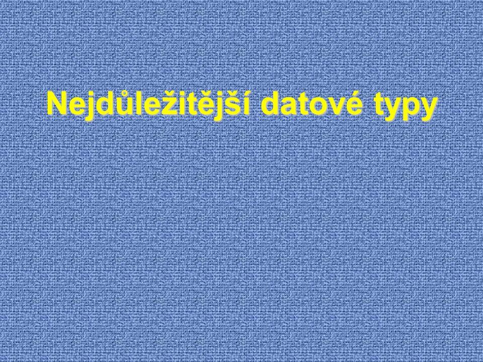 Nejdůležitější datové typy