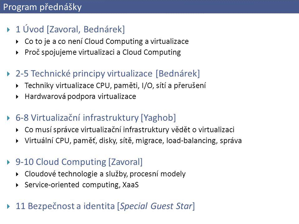 Program přednášky  1 Úvod [Zavoral, Bednárek]  Co to je a co není Cloud Computing a virtualizace  Proč spojujeme virtualizaci a Cloud Computing  2
