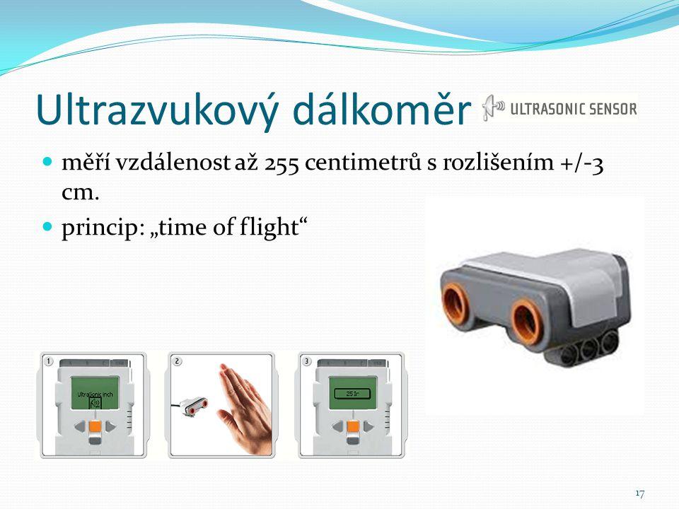 """Ultrazvukový dálkoměr měří vzdálenost až 255 centimetrů s rozlišením +/-3 cm. princip: """"time of flight"""" 17"""