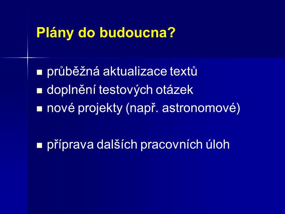 Plány do budoucna. průběžná aktualizace textů doplnění testových otázek nové projekty (např.