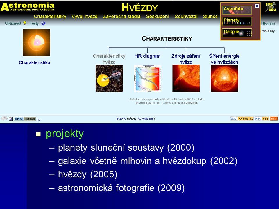 Postupný vývoj technologie – –statické stránky (2000) – –redakční systém (2005, 2009) – –databáze plné katalogů (od 2005) projekty – –planety sluneční soustavy (2000) – –galaxie včetně mlhovin a hvězdokup (2002) – –hvězdy (2005) – –astronomická fotografie (2009)