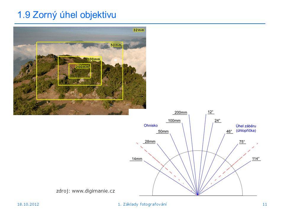 18.10.20121. Základy fotografování11 1.9 Zorný úhel objektivu zdroj: www.digimanie.cz