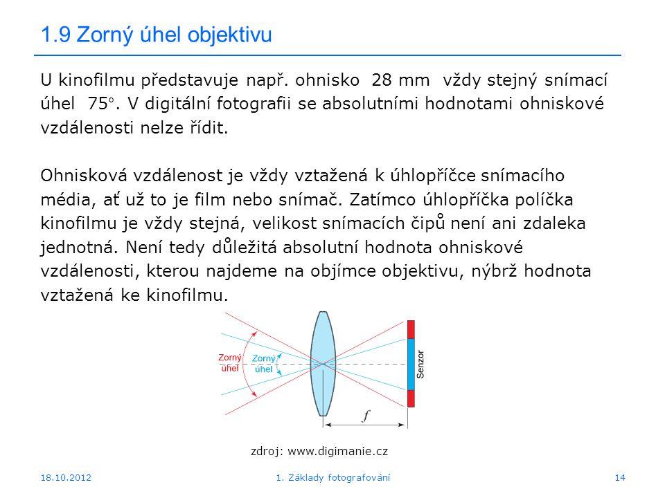 18.10.20121. Základy fotografování14 1.9 Zorný úhel objektivu U kinofilmu představuje např. ohnisko 28 mm vždy stejný snímací úhel 75°. V digitální fo