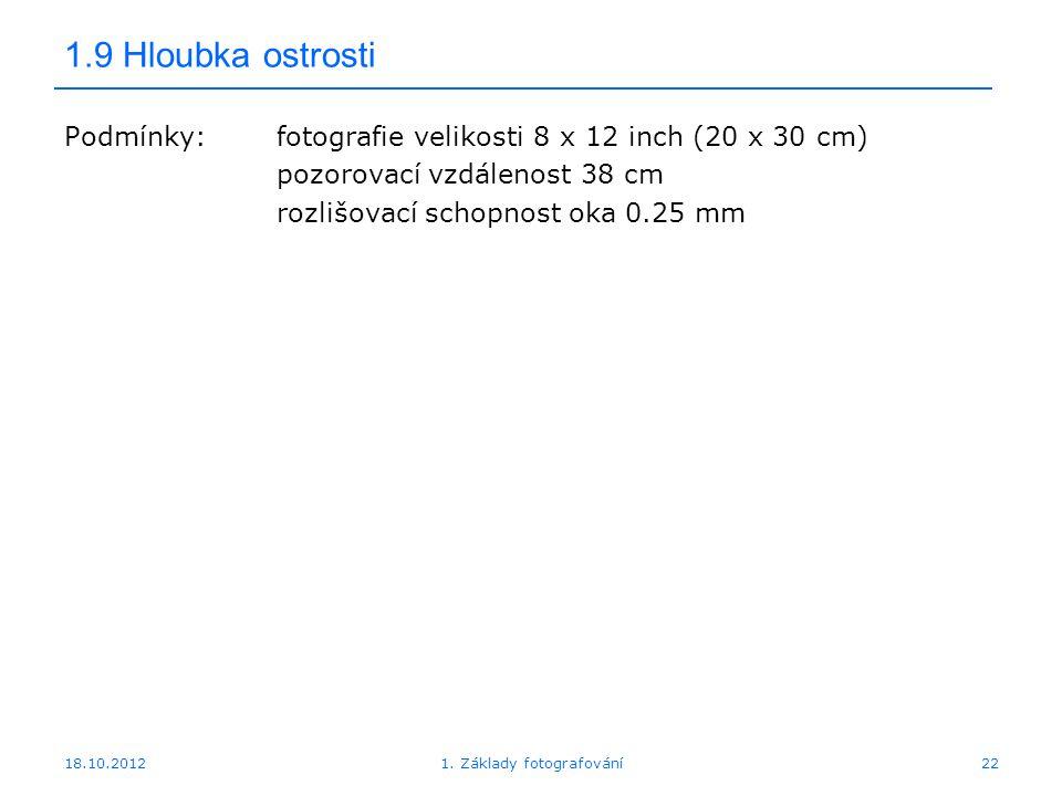 18.10.20121. Základy fotografování22 1.9 Hloubka ostrosti Podmínky:fotografie velikosti 8 x 12 inch (20 x 30 cm) pozorovací vzdálenost 38 cm rozlišova