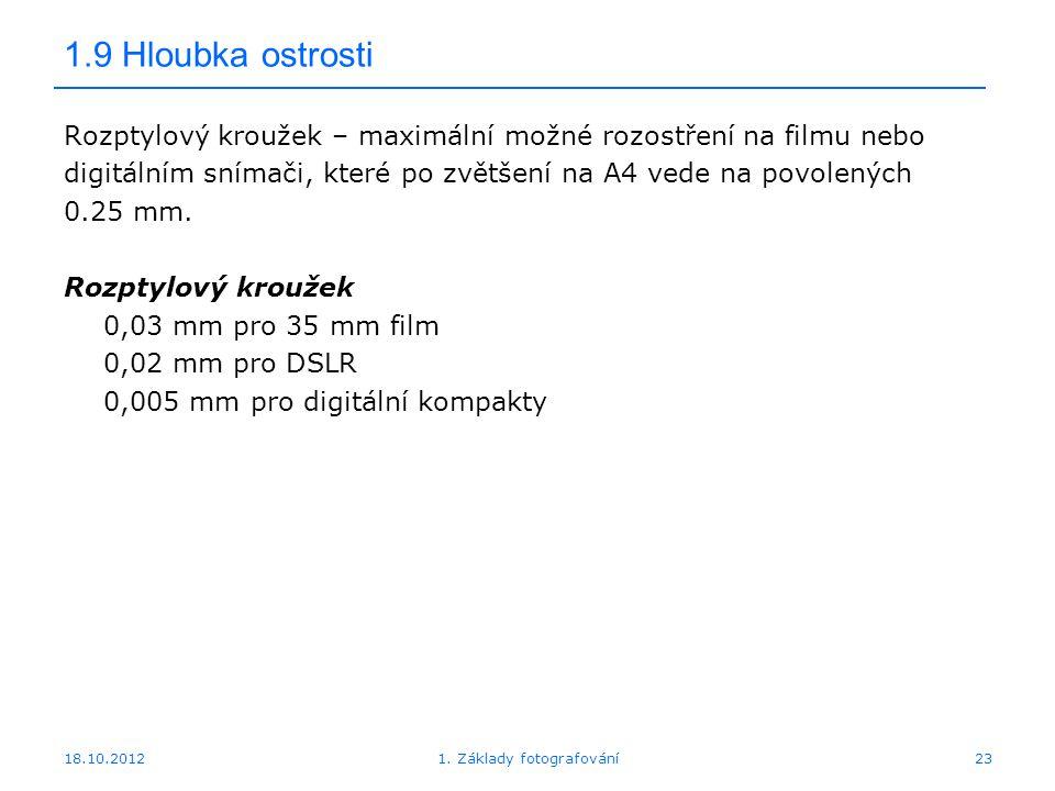 18.10.20121. Základy fotografování23 1.9 Hloubka ostrosti Rozptylový kroužek – maximální možné rozostření na filmu nebo digitálním snímači, které po z