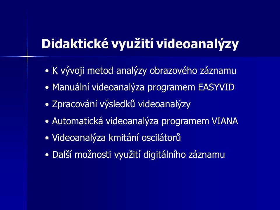 Didaktické využití videoanalýzy K vývoji metod analýzy obrazového záznamu Manuální videoanalýza programem EASYVID Zpracování výsledků videoanalýzy Automatická videoanalýza programem VIANA Videoanalýza kmitání oscilátorů Další možnosti využití digitálního záznamu