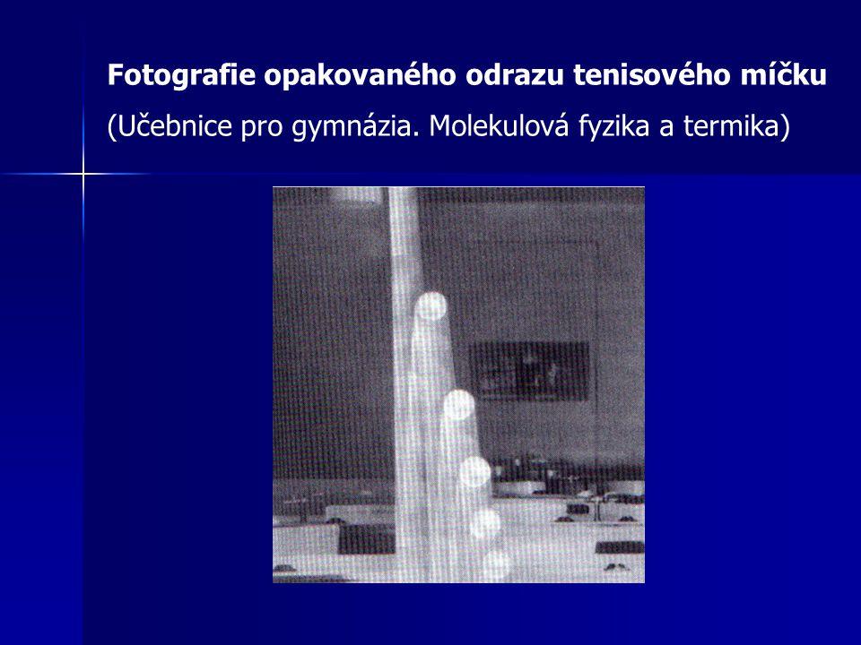 Fotografie opakovaného odrazu tenisového míčku (Učebnice pro gymnázia. Molekulová fyzika a termika)