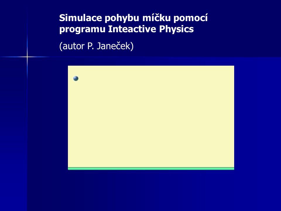 Simulace pohybu míčku pomocí programu Inteactive Physics (autor P. Janeček)