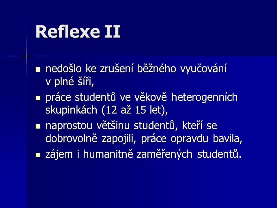 Reflexe II nedošlo ke zrušení běžného vyučování v plné šíři, nedošlo ke zrušení běžného vyučování v plné šíři, práce studentů ve věkově heterogenních skupinkách (12 až 15 let), práce studentů ve věkově heterogenních skupinkách (12 až 15 let), naprostou většinu studentů, kteří se dobrovolně zapojili, práce opravdu bavila, naprostou většinu studentů, kteří se dobrovolně zapojili, práce opravdu bavila, zájem i humanitně zaměřených studentů.