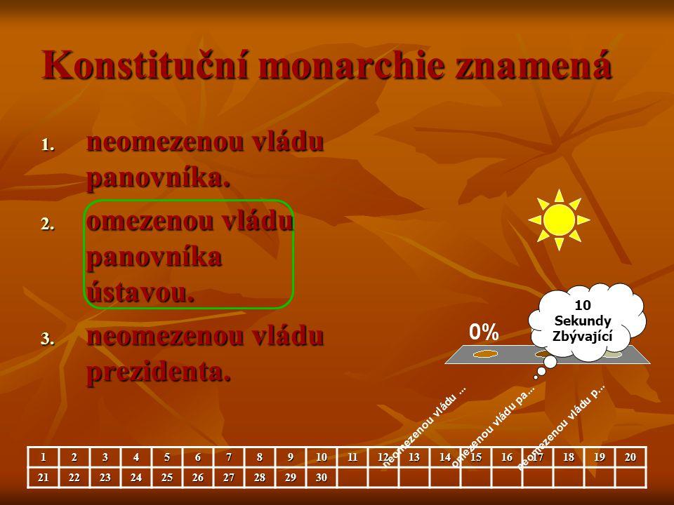 Konstituční monarchie znamená 1. neomezenou vládu panovníka. 2. omezenou vládu panovníka ústavou. 3. neomezenou vládu prezidenta. 10 Sekundy Zbývající