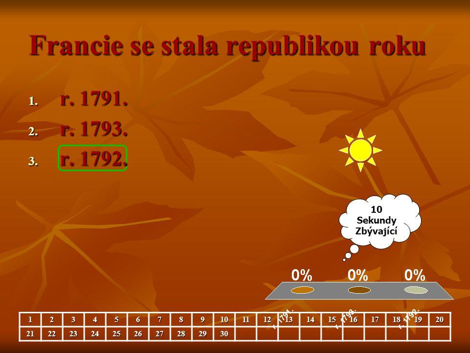 Francie se stala republikou roku 1. r. 1791. 2. r. 1793. 3. r. 1792. 10 Sekundy Zbývající 123456789101112131415161718192021222324252627282930