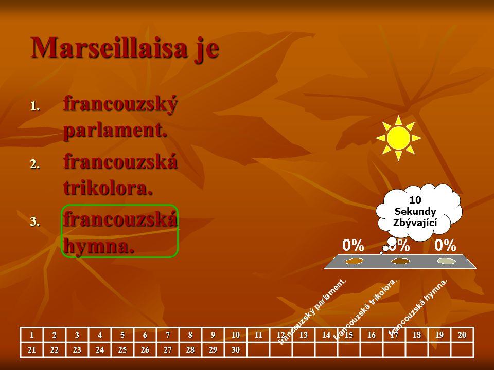 Marseillaisa je 10 Sekundy Zbývající 123456789101112131415161718192021222324252627282930 1. francouzský parlament. 2. francouzská trikolora. 3. franco